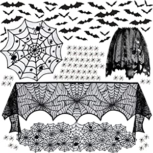 5 Pack Halloween Decorations Set- Tablecloth Runner Lace Round Spider Cobweb Table Cover Spiderweb Fireplace Scarf Lampshade with 36pcs Scary 3D Bat 50pcs Plastic Spiders for Halloween Party