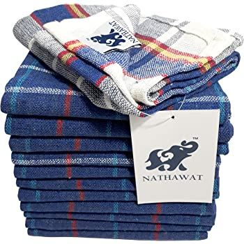 """NATHAWAT Cotton Kitchen Cleaning Cloth Duster Napkin Multipurpose (17""""x17"""" - inches; Multicolour) -Set of 12"""