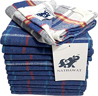 """NATHAWAT Cotton Kitchen Cleaning Cloth Duster Napkin Multipurpose (17""""x17"""" - inches; Blue) -Set of 12"""