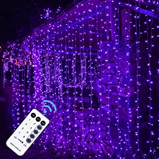 MAGGIFT 304 LED Curtain String Lights, 9.8 x 9.8 ft, 8 Modes Plug in Halloween Fairy Light with Remote Control, Christmas, Backdrop for Indoor Outdoor Bedroom Window Wedding Party Decoration, Purple