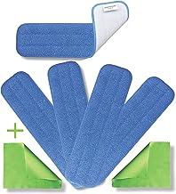 45.72 厘米超细纤维专业可洗拖把垫(5)和额外布料(2) - 商业级可重复使用的垫子套装 450 GSM 平头更换头,适用于湿地或干地清洁、擦洗、儿童护理用品