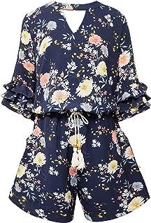 Big Girls Tween Tiered Ruffle 3/4 Sleeves Romper with Pockets, 7-16