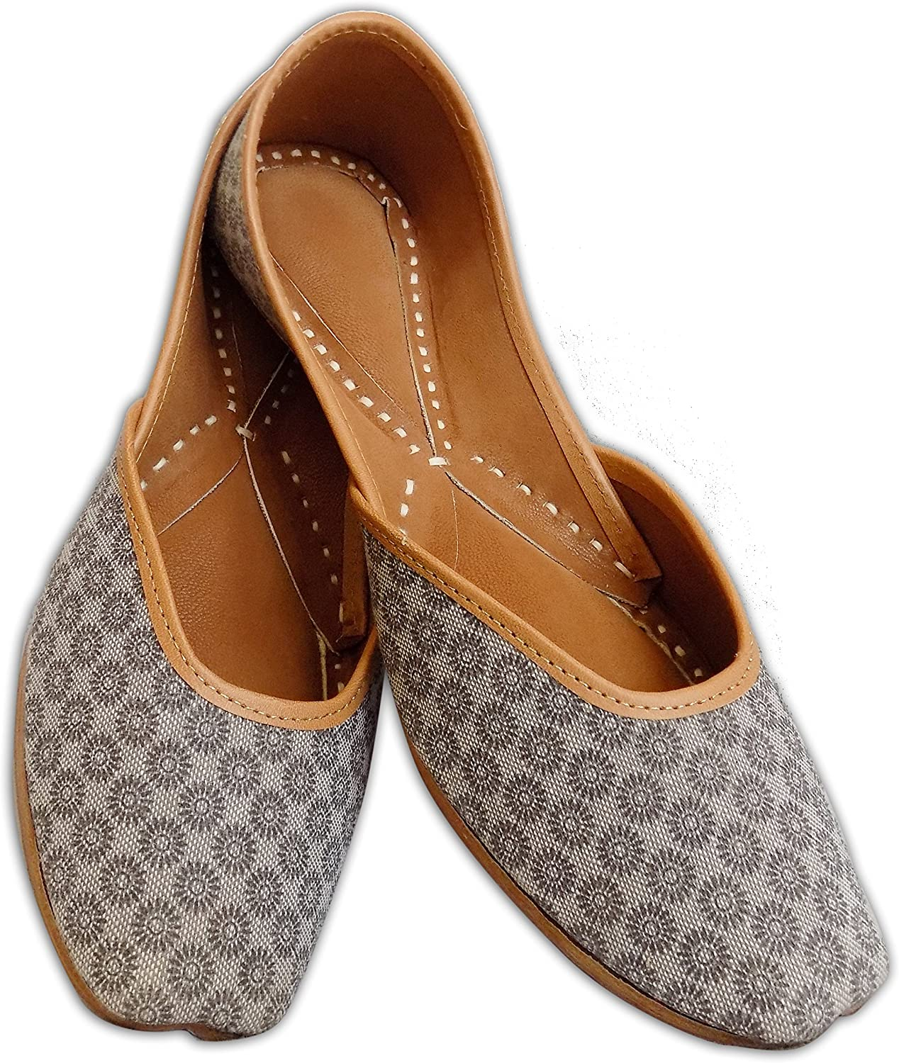 Indian Ethnic Printed Jutti Mojari Ballet Flats Traditional colord Pump shoes for Women Black and White