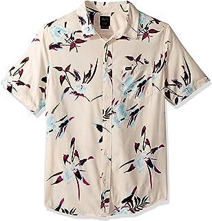 RVCA Moonflower Camisa de Manga Corta Tejida con Botones para Hombre
