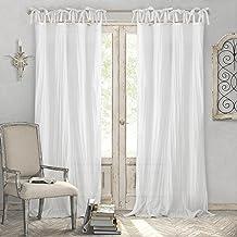 """ستائر نافذة شفافة للمنزل من الرين بتصميم شفاف قابل للضبط بعقدة من الاعلى 52"""" x 84"""" (1 Panel) 21189WHT"""