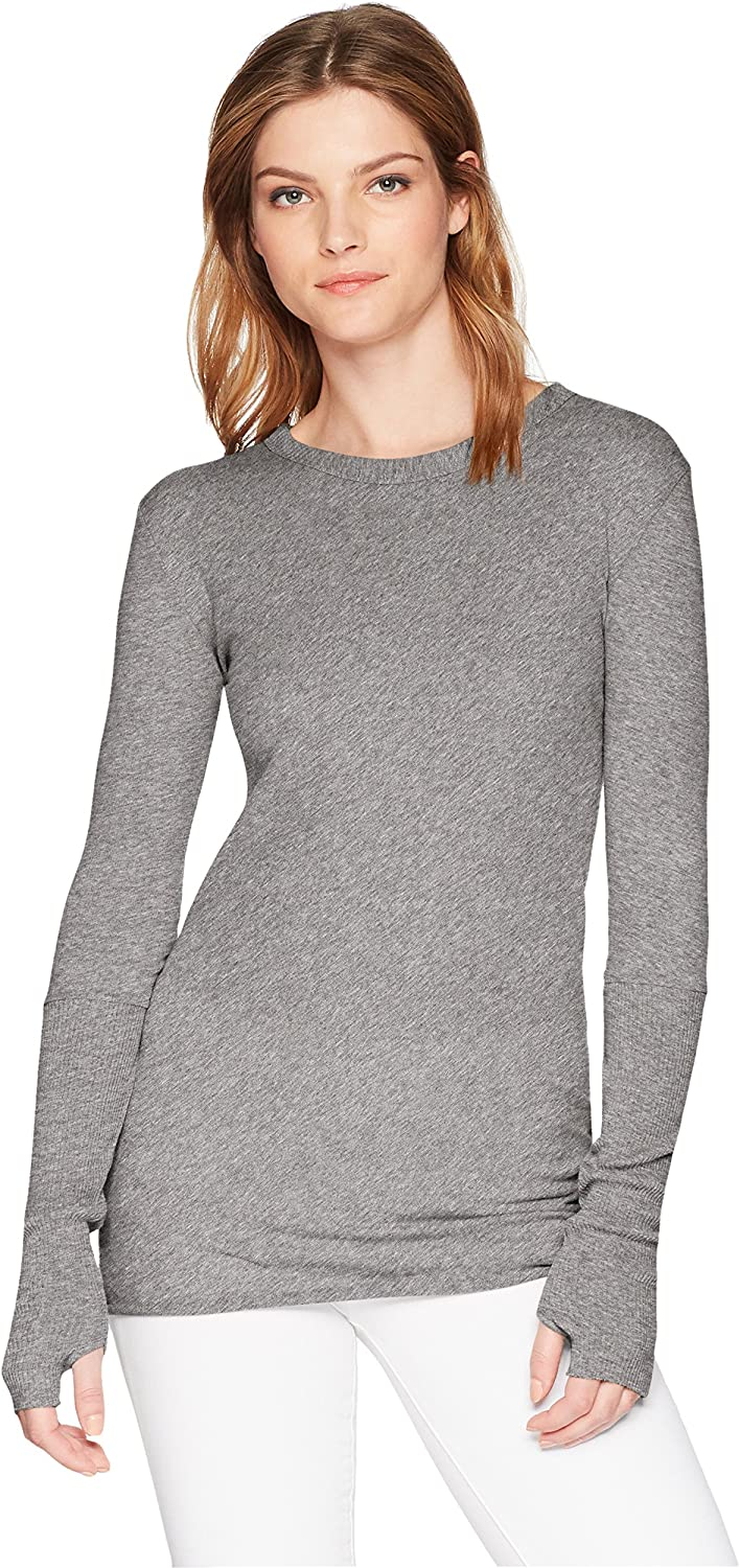 Enza Costa Womens Standard Cashmere Long Sleeve Cuffed Crew Top with Thumbhole