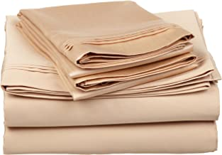 100% Egyptian Cotton 650 Thread Count, California King 4-Piece Sheet Set, Deep Pocket, Single Ply, Solid, Beige