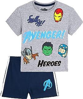Pijama Niño Verano, Pijamas Niños Cortos con Iron Man Thor Capitan America Hulk y Spiderman, Conjunto Niño Verano de Los Vengadores, Regalos para Niños