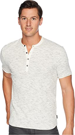 Short Sleeve Space-Dye Waffle Henley with Raw Cut K3777U2B
