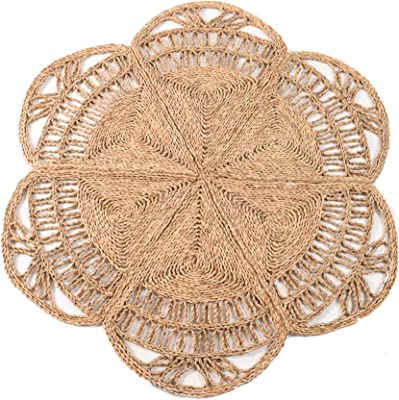 100% Natural Hand Woven Jute Round Area Rug, Natural Round Jute Rug, Farmhouse Style Braided Kitchen Area Rug, Grass Rug for Bedroom, Reversible Rustic Vintage Braided Round Jute Rug 4 ft