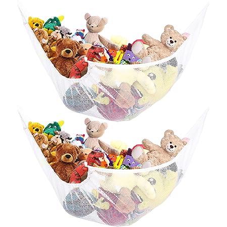 hegaed The White Large Toy Hammock Mesh Hammock Organizes Stuffed Animals and Childrens Toys.