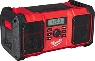 Milwaukee 2890-20 18V Dual Chemistry M18 Jobsite Radio with Shock Absorbing End Caps, USB 2.1A Smartphone Charging, and 3.5mm Aux Jack