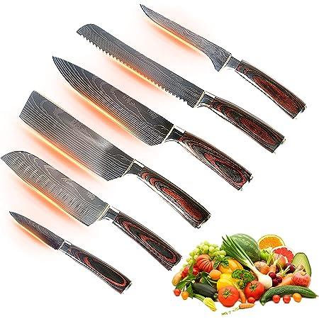 Jikko® Nouvelle Gamme de Couteaux de Chef Japonais en Acier Carbone Renforcé VG-10 avec Manches en Bois de Noyer - Couteaux de Cuisine Professionnels Premium - Set Complet - Approuvé HRC 60