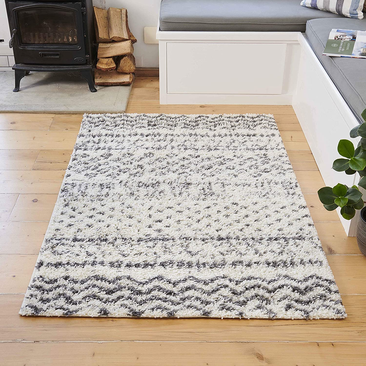 Aztec Cream and Gray Striped Tribal Luxurious Geometr Rug Shaggy Direct store Super intense SALE