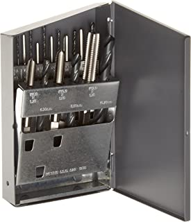 Chicago Latrobe HM18 High-Speed Steel Jobber Length Drill Bit and Tap Set with Metal Case, Black Oxide Drill Bits/Uncoated Taps, Metric, 18-piece, Metric Drill Bit Sizes, M2.5 to M12 Tap Sizes