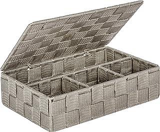 Wenko 22569100 Adria petit Panier de salle de Bain avec Couvercle PP Taupe 26 x 17 x 7,5 cm