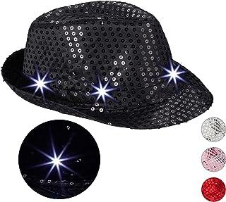 Relaxdays Chapeau Paillettes 6 LED Clignotantes Sequin Homme&Femme Chapeau de Fête EVG/EVFJ Taille Unique diff. couleurs