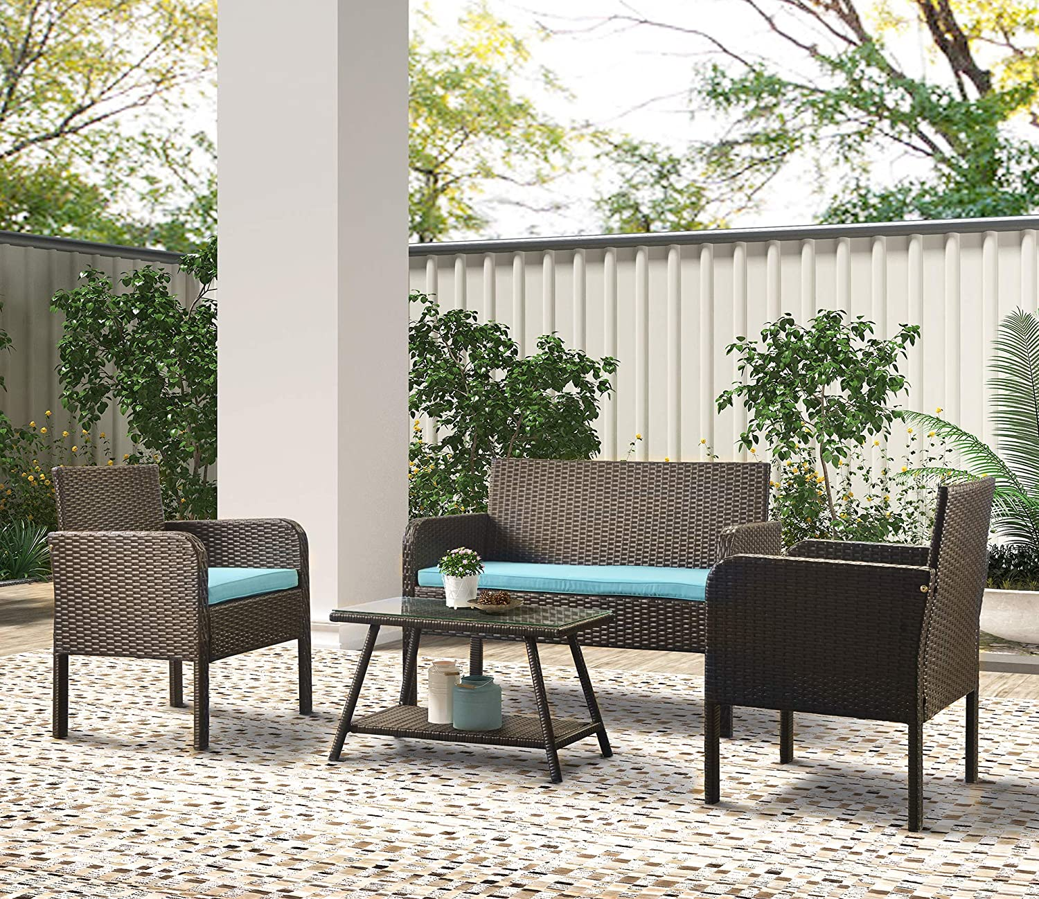 Ranking TOP7 4 Piece Rattan Sofa Seating Cushions with Outdoor Ratten Max 85% OFF Group