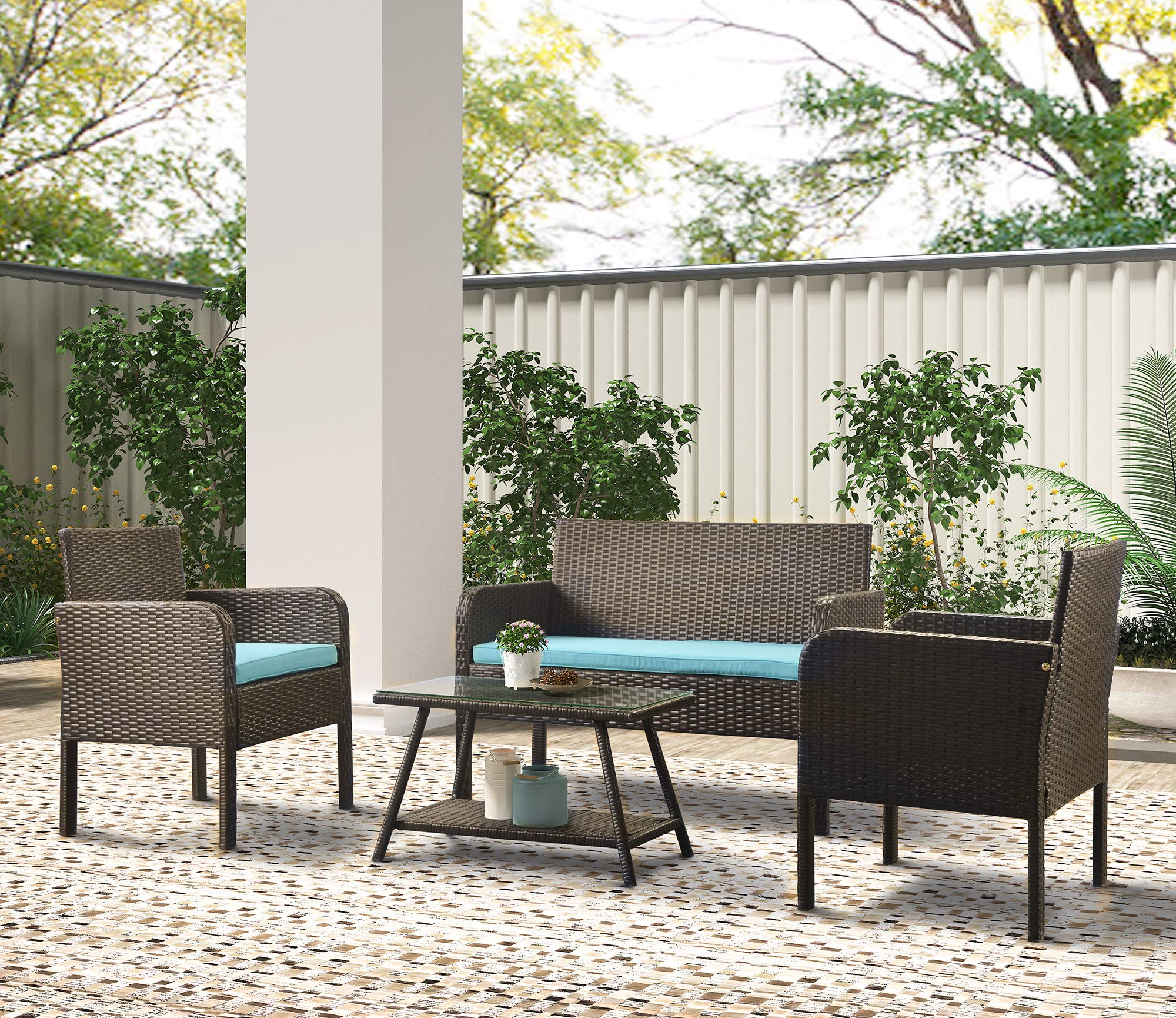 U Style 4 Piece Rattan Sofa Seating Group With Cushions Outdoor Ratten Sofa Buy Online In Angola At Angola Desertcart Com Productid 210342595