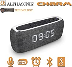 Alphasonik CHARM Wireless Bluetooth Portable Speaker with Digital LED Alarm Clock, Auto and Manual Dimmer, FM Radio, HD So...