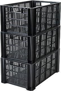 Iris Ohyama 135757 Set de 3 caisses de rangement, Plastique, Noir, 36 L
