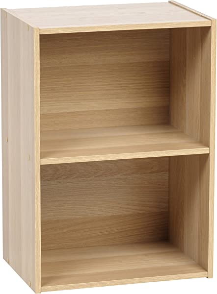 IRIS USA 596164 2 Tier Wood Storage Shelf Light Brown