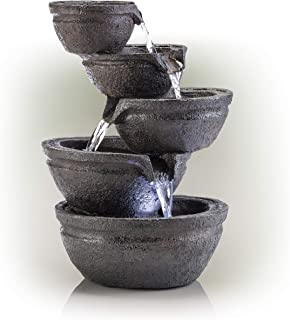 Alpine Corporation Tiering Bowls Tabletop Fountain with LED Lights - Zen Indoor Decor for Office, Living Room, Bedroom - 13 Inches