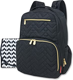 Fisher Price Diaper Bag Backpack - Signature Collection, with Cell Phone and Tablet Pockets and Stroller Clips (Black)