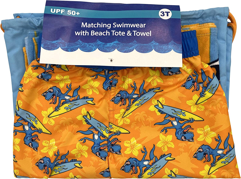Sac Serviette de Plage et Swim Trunk Board Short Maillot de Bain Boardshort 2t Dreamwave gar/çons Dinosaur Swim Essentials
