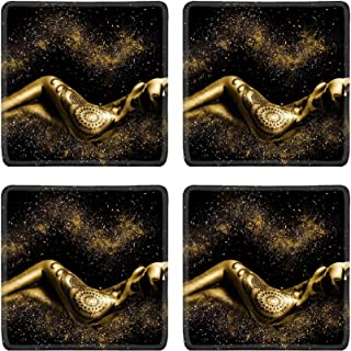 MSD Natural Rubber Square Coasters Set of 4 Design for Sexy Woman Body Skin Naked Adult Beauty Beautiful Pretty Female Breast Youn