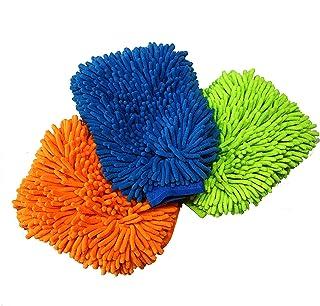 Kmest 3Pcs Microfiber Premium Scratch-Free Wash Mitt Chenille ree Wash Mitt, Lime Green Orange Blue Color Car Wash Wax Che...