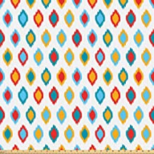 Lunarable Ikat Fabric by The Yard, Oriental Traditional Motifs Ikat Patterns Exotic Design Old, Microfiber Fabric for Arts and Crafts Textiles Decor, 3 Yards, Yellow White