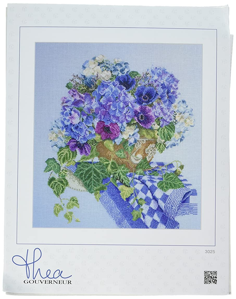 Thea Gouverneur 16 Count Counted Cross Stitch Kit, 14-1/2 by 16-1/2-Inch, Hydrangea, Anemone on Aida