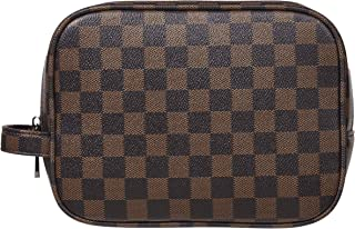 Rita Messi Luxury Checkered Make Up Bag Leather Cosmetic Toiletry Travel Bag (Victoria)