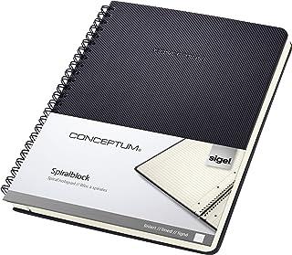 SIGEL CO823 Cuaderno espiral, 17.4 x 21.4 cm, a líneas, Hardcover, negro, Conceptum