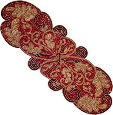 COTTON CRAFT Mesa Scarlett Handmade Beaded Leaves Table Runner, 13 x 36 inch, Red and Gold