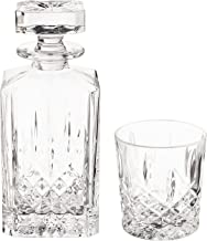 Marquis by Waterford Markham 11 Ounce Double Old Fashioned Glasses Pair and Square Decanter Set, Unleaded Crystal