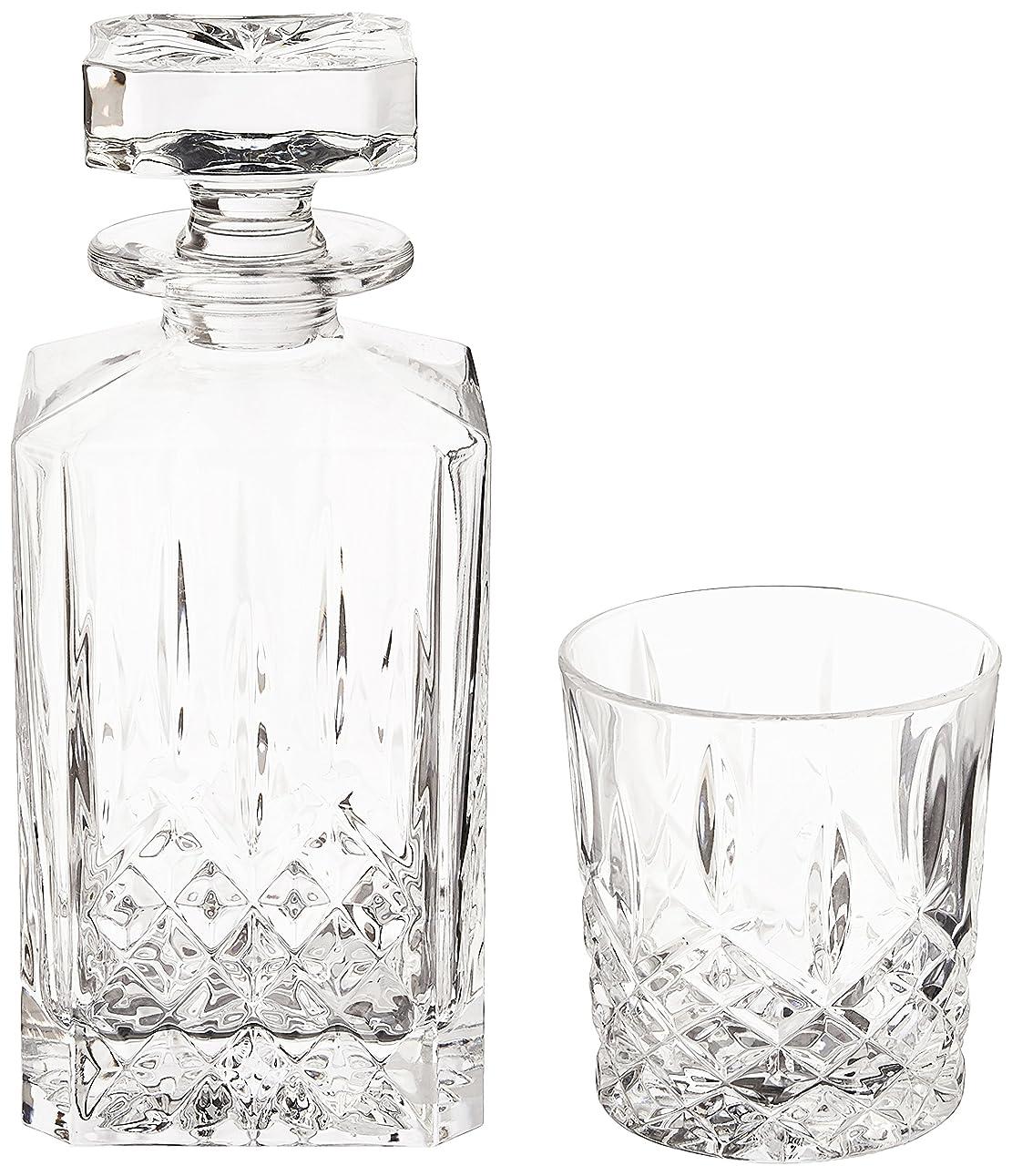 ずらす認知特派員(Decanter Set) - Marquis by Waterford Markham 330ml Double Old Fashioned Glasses Pair and Square Decanter Set, Unleaded Crystal