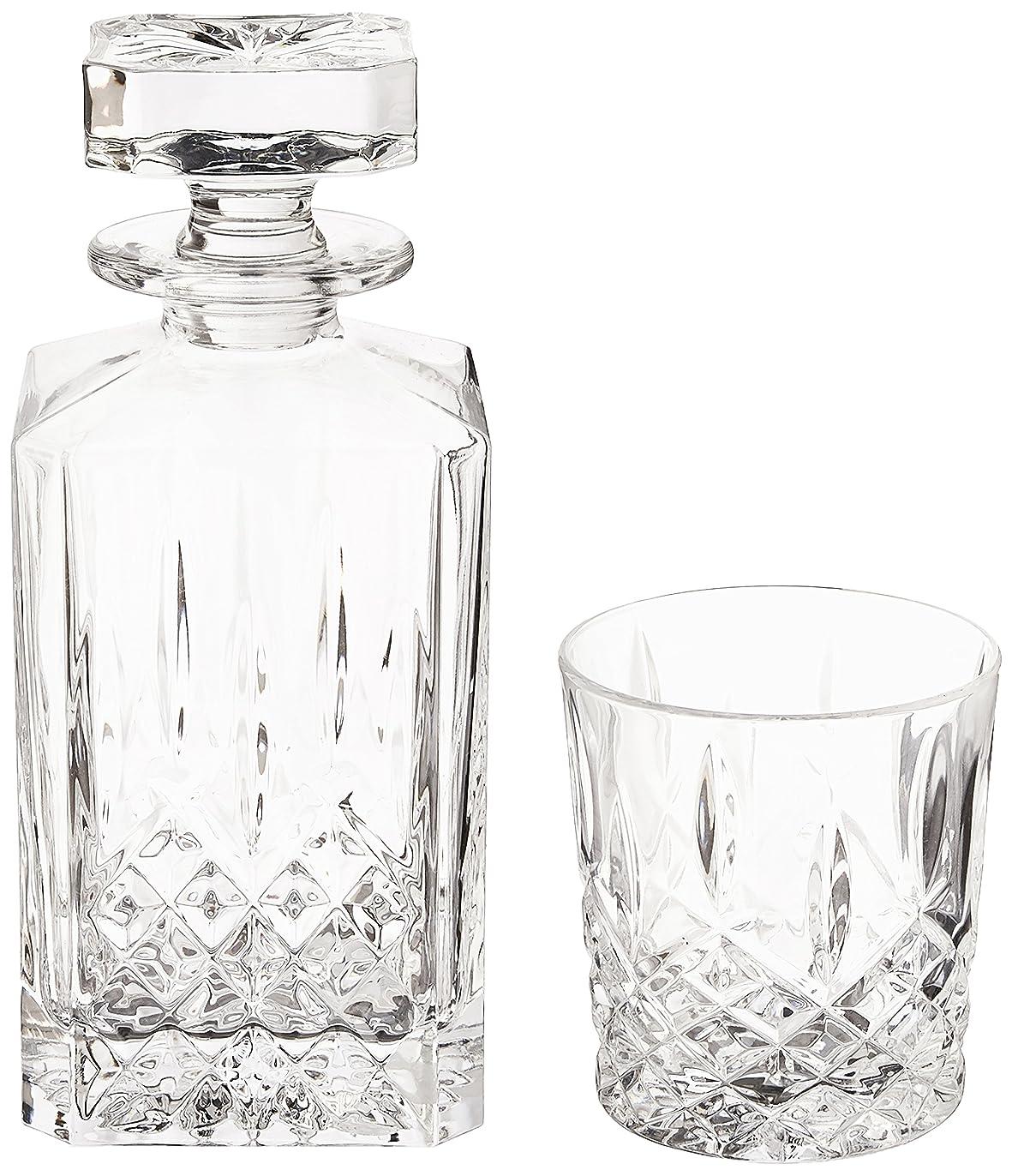 進化する不適切な一定(Decanter Set) - Marquis by Waterford Markham 330ml Double Old Fashioned Glasses Pair and Square Decanter Set, Unleaded Crystal