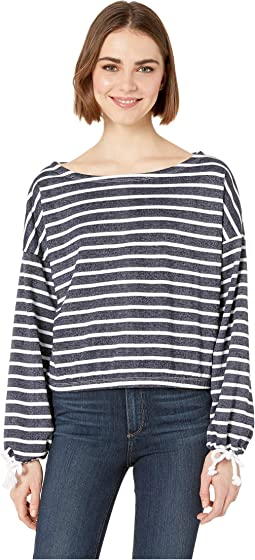 Rosalee Striped Boat Neck Top