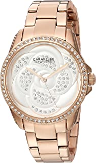 Caravelle New York Women's 44L233 Swarovski Crystal  Rose Gold Tone Watch