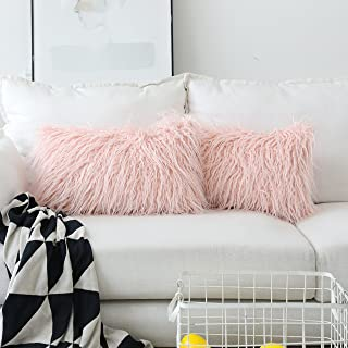 Home Brilliant 2 Packs Decorative Luxury Series Oblong Pillow Cover Merino Faux Fur Fuzzy Accent Pillows Case for Bed, 12x20 Inch(30cmx50cm), Pink