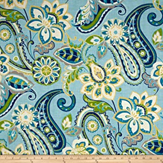 WAVERLY 0564957 Sun N Shade Wild Card Turquoise Outdoor Fabric by The Yard