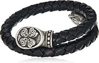 Alex and Ani Men's Braided Leather Wrap Bracelet, Four Leaf Clover, Rafaelian Silver, Expandable