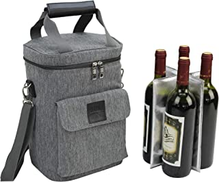Wine Carrier 4 Bottle Capacity | Highest Quality Wine Bag for Wine Lover Gifts for Travel Beach and Picnic | Insulated Wine Tote Bag with Handle and Shoulder Strap | Padded Wine Cooler Bag | Wooden H