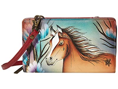 Anuschka Handbags Cell Phone Crossbody Wallet 1149 (Free Spirit) Handbags