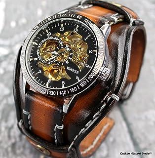 7954f4b9a Steampunk Leather Wrist Watch, Skeleton Watch Cuff, Leather Watch, Bracelet  Watch, Mens