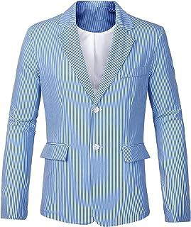 uxcell Men's Striped Sport Coat Notched Lapel Slim Fit Business Blazer Suit Jacket