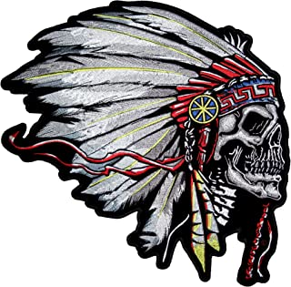 Leather Supreme Native American Indian Chief Headdress Skull Embroidered Biker Patch-Red-Large