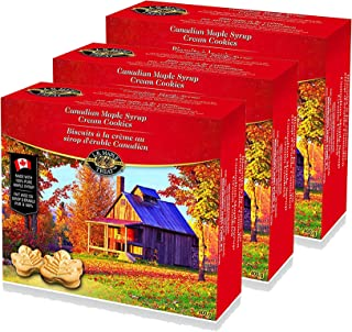 LB Maple Treat Canadian Maple Leaf Sugar Cream / Creme Snack Cookies Candy Treat (3-Pack) 400Grams 14 Ounce